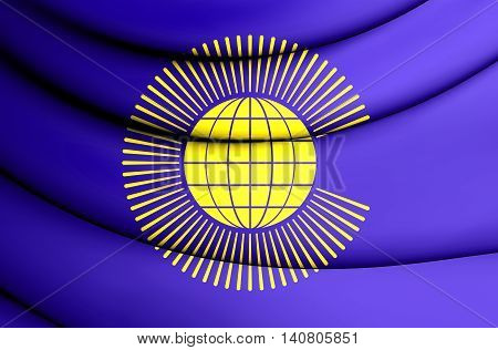 Commonwealth of Nations Flag. 3D Illustration. Front View.