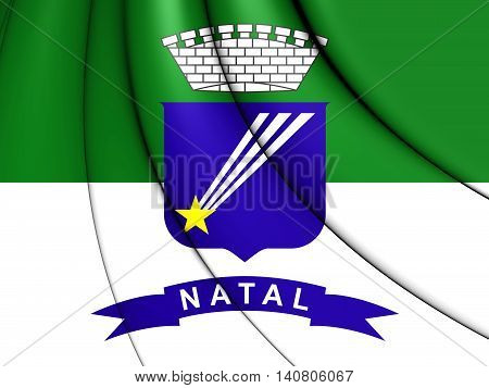 Flag of Natal Brazil. 3D Illustration. Close Up.