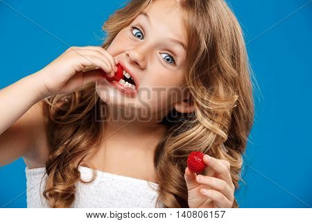 Young pretty girl eating strawberry, looking at camera over blue background. Copy space.