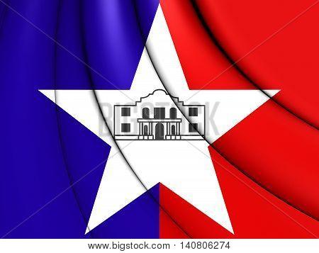 Flag Of San Antonio (texas), Usa. 3D Illustration.
