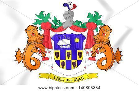 Vina Del Mar Coat Of Arms, Chile. 3D Illustration.