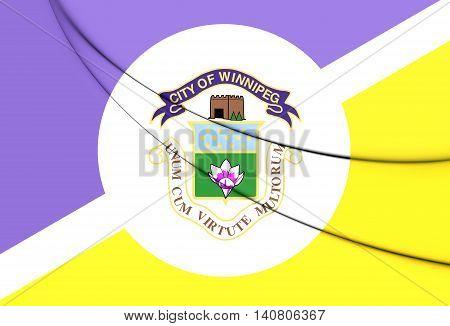 Flag of Winnipeg Canada. 3D Illustration. Close Up.