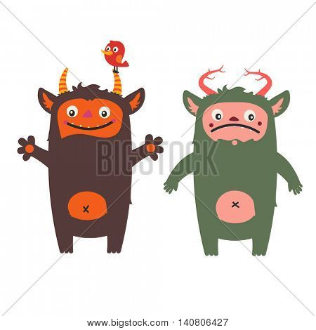 Two cute monsters - friendly and grumpy