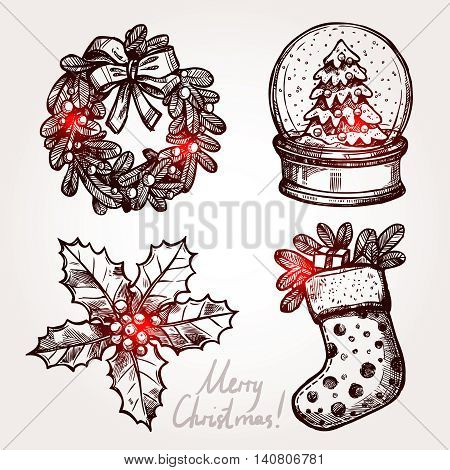 Christmas Sketch Set With Holiday Objects. Christmas Wreath, Snowglobe, Holly And Christmas Sock