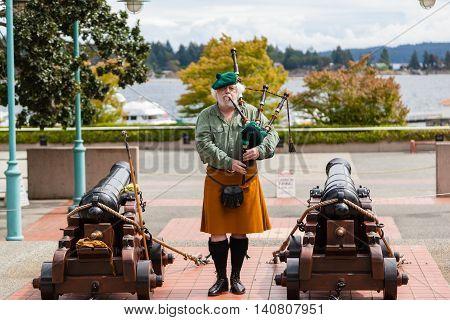 Ceremonial Bagpipe Performance At Nanaimo, Bc