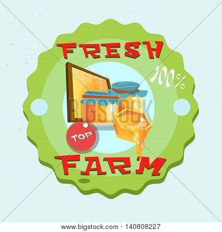 Honey Fresh Eco Farm Logo Flat Vector Illustration
