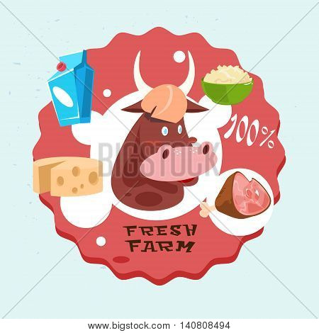 Cow Milk Meat Products Fresh Eco Farm Logo Flat Vector Illustration