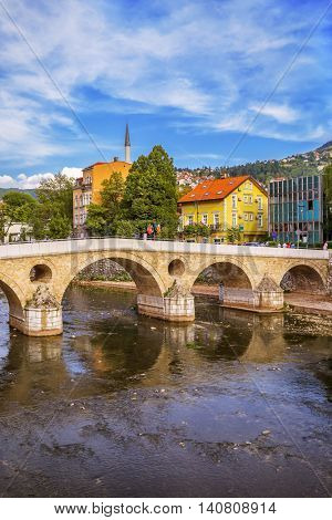 Latin Bridge in Sarajevo - Bosnia and Herzegovina - architecture travel background