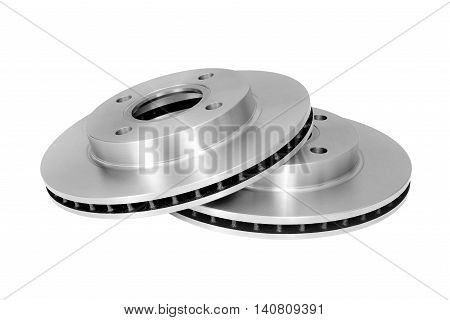 Brake Discs on white background with Clipping Path.