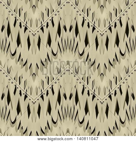 Geometric textured ornament in soft brown colors. Seamless pattern