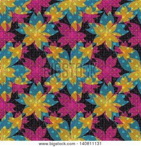 Seamless floral pattern. Wallpaper seamless vintage flower pattern with polka dot