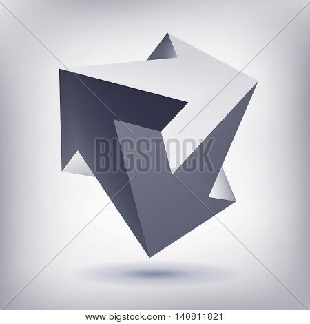 Impossible shape, unreal arrows, 3 arrows vector, crystal, 3D low polygon geometry, abstract vector object, mesh version
