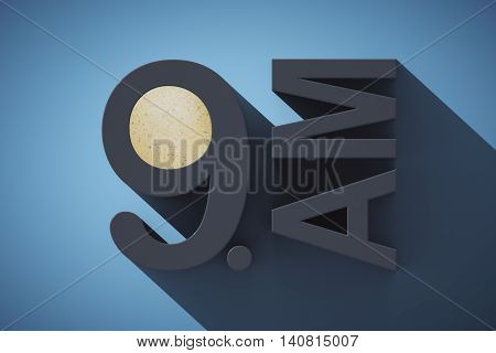 Early morning concept with abstract voluminous 9 AM text and coffee on blue background. 3D Rendering