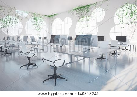 Bright clean coworking office interior with computers round windows and plants all over walls. 3D Rendering