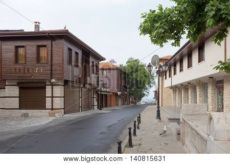 Nessebar, Bulgaria, Juny 20, 2016: Architectural Solutions Nessebar Old Town Buildings. Residential
