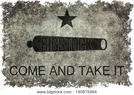 Historic Come and take it flag with vintage distressed textures and edges