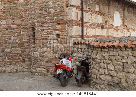 Nessebar, Bulgaria, Juny 20, 2016: Motorcycle Parking Town Of Nessebar.