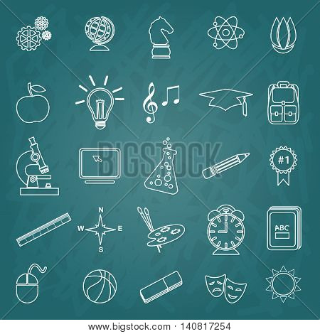 Back to School symbols & stationery supplies trendy line icon set. Flat icon template set. School, after-school kids' activities, Science, Art, technology education concept. Use for youth targeted product decoration.