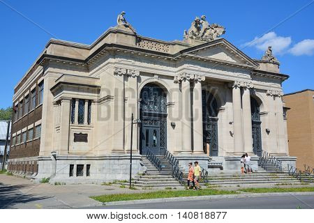 MONTREAL QUEBEC CANADA 07 31 2016: Details of Maisonneuve public bath and gymnasium was designed by architect Marius Dufresne, who created a number of other impressive public buildings in Maisonneuve