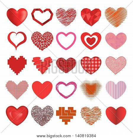 Vector red hearts icons set emotion wedding symbols. Holiday passion heart icons valentine romantic shape design. Romance element red graphic heart icons decoration marriage concept collection.