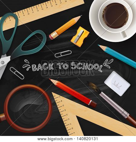 School Items With Colored Pencils. School Icon Elements.
