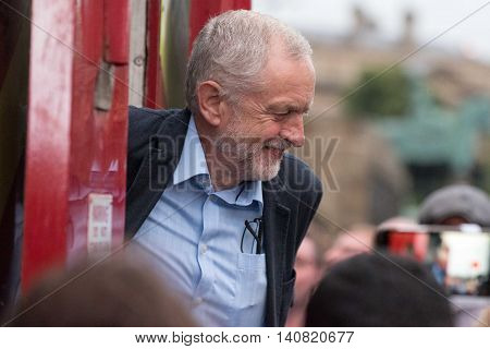LIVERPOOL United Kingdom - August 1 2016: Jeremy Corbyn Labour Party speaks to supporters at a rally in Liverpool