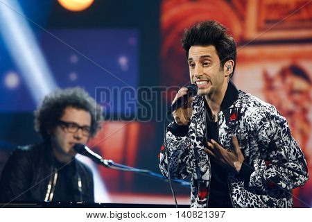 NEW  YORK-NOV 13: Chad Vaccarino (R) and Ian Axel of A Great Big World perform at VH1's 2nd Annual 'You Oughta Know Live In Concert' 2014 at Hammerstein Ballroom on November 13, 2014 in New York City.