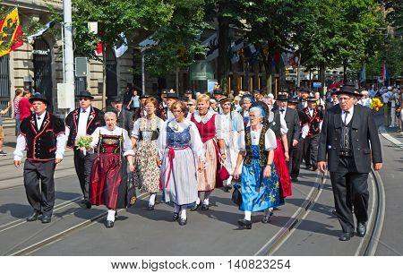 ZURICH - AUGUST 1: Swiss National Day parade on August 1, 2016 in Zurich, Switzerland. Representatives of canton Appenzeller in a historical costumes.