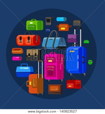 Travel bags in various colors. Luggage suitcase