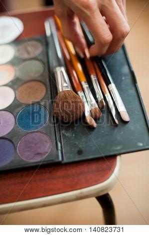 Make-up Brushes In Holder