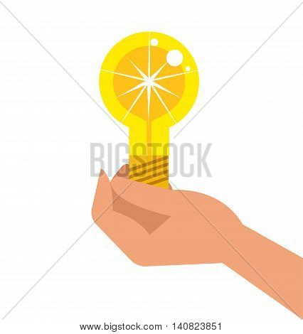 Vector detailed business illustration concept Creative idea with light lamp and hand