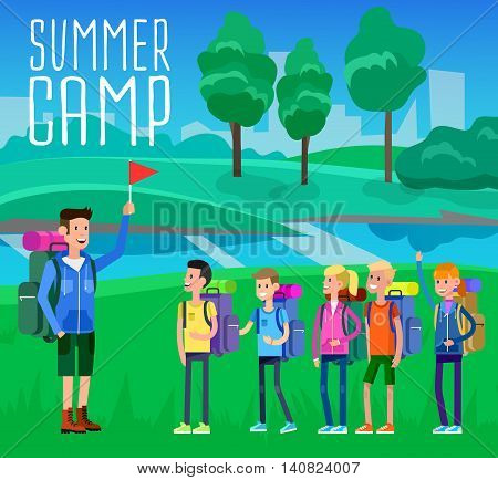vector illustration of summer camp on beautiful landscape . Vector characters counselor and children. Camping banner and icon