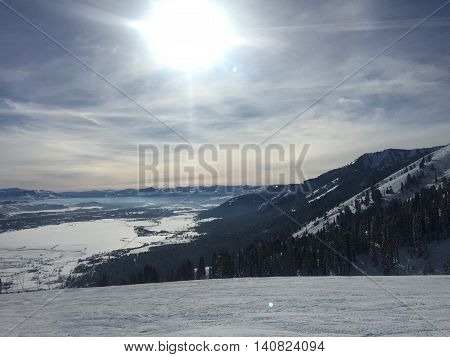Ski and shining sun in Jackson Hole Wyoming. Getting ready for an active day.