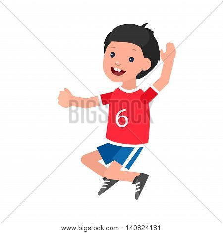 Cute vector character child Boy in motion. Cheerful child. Happy kid illustration