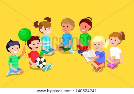 Cute vector character child playing with ball, read book. Vector for Celebration children day