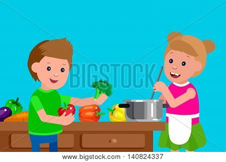 Cute vector character child and healthy food, girl and boy with vegetables, cooking