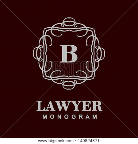Elegant monogram design. Vector linear frame for justic lawyer, boutique or hotel