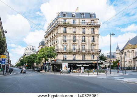 PARIS, FRANCE - July 31 : beautiful Street view of  Buildings around Paris city. Paris is the capital and most populous city of France. July 31, 2016, Paris, France.
