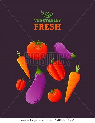 Fresh vegetables poster template. Vegetarian food. Vector illustration