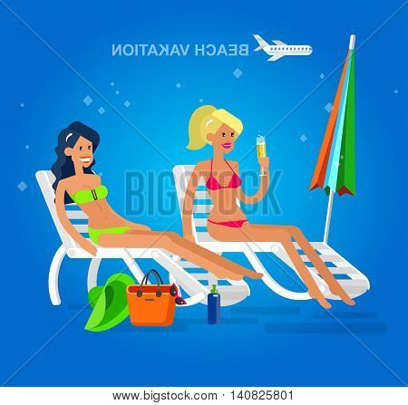 Vector detailed character Hot beautiful girl in bikini lying on a sun lounger and sunbathe on a summer beach, girlfriends go on summer vacation