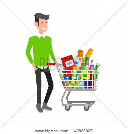 Concept illustration for Shop. Vector character man with supermarket cart. Healthy eating and eco food
