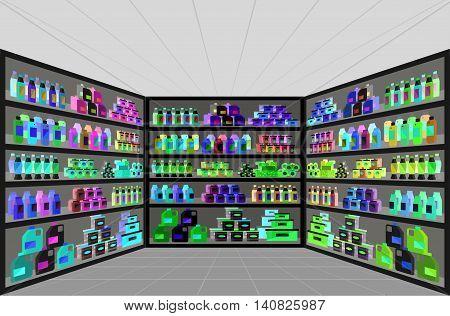 Concept illustration for Shop. Vector supermarket shelves. Healthy eating and eco food