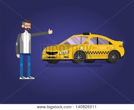 Vector detailed character men with taxi hire service application running, creative infographics