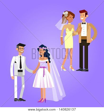 Happy cute wedding couple. Vector wedding detailed character, beautiful smiling bride and groom