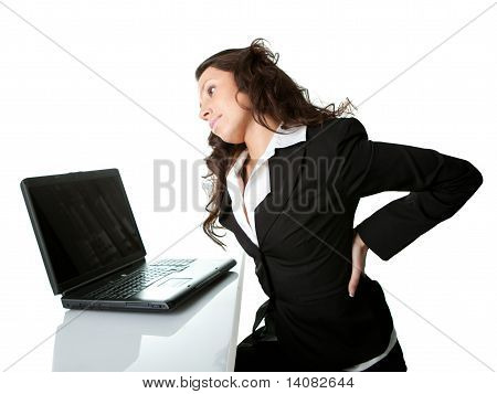 Business women having back pain.