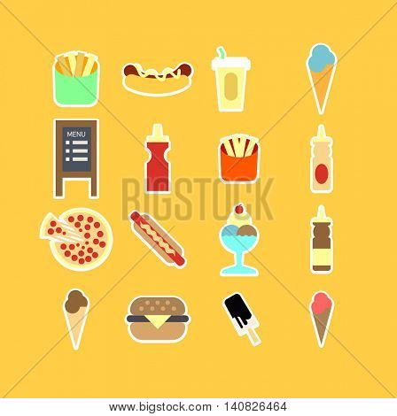 Fastfood flat icon set. Vector Illustration. Isolated.