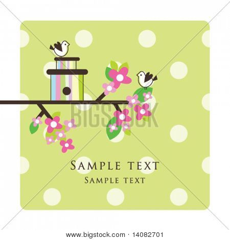 Birds - Greeting card template