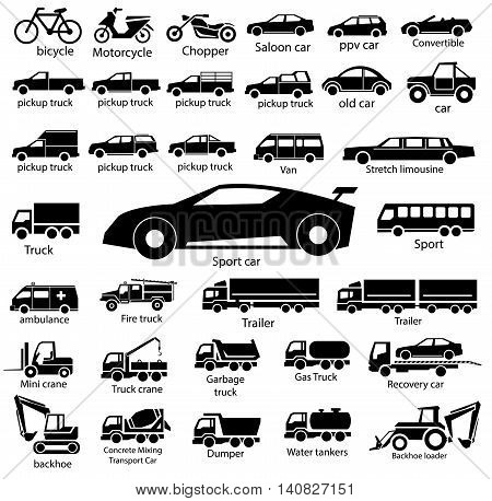 silhouette car icon set vector, transportation illustration