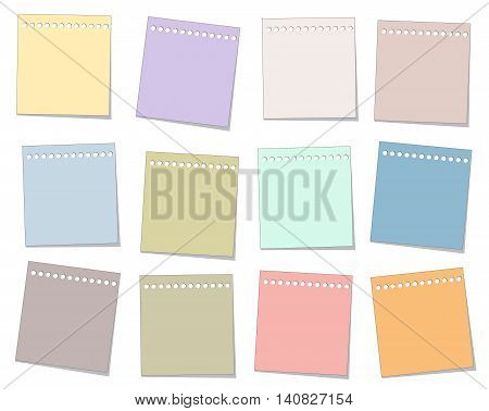 old colorful note paper vector set for illustration memo and message text