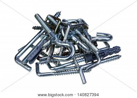 Pile of new hooks with dowels isolated on white background with clipping path